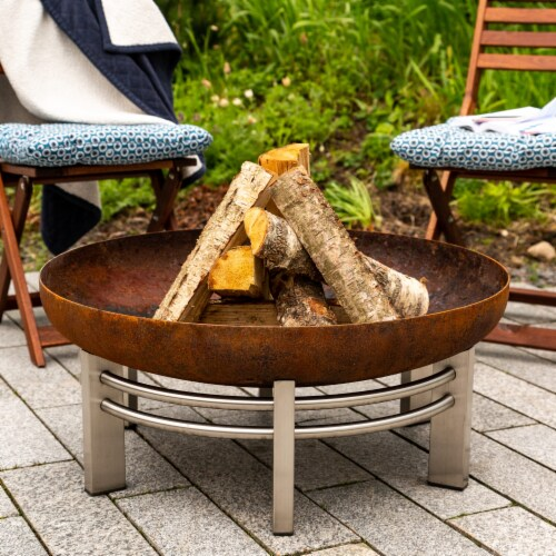 Curonian Jura Fire Pit Large, Diameter 31  - Combinations of Rusting and Stainless Steel Perspective: back