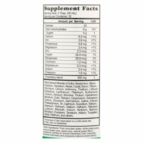Buried Treasure™ Liquid Nutrients Grape Colloidal Minerals Dietary Supplement Perspective: back