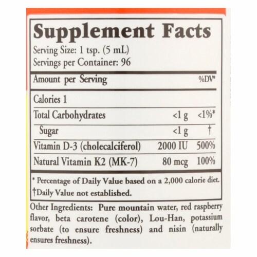 Buried Treasure Vitamin D3 Plus K2 Liquid Dietary Supplement Perspective: back