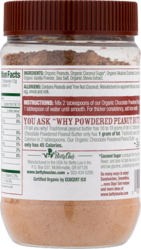 Just Great Stuff Organic Chocolate Powdered Peanut Butter Perspective: back
