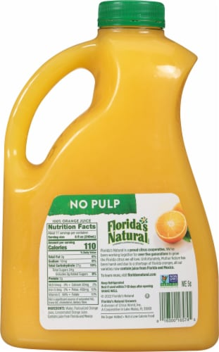Florida's Natural 100% No Pulp Orange Juice Perspective: back