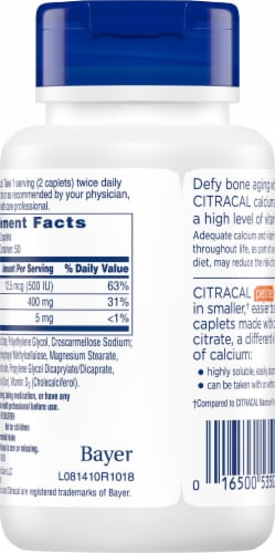 Citracal Petites Calcium Citrate Plus D3 Coated Caplets 100 Count Perspective: back