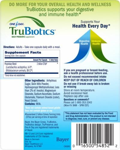 TruBiotics Daily Probiotic Supplement Capsules Perspective: back