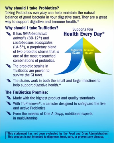 One A Day TruBiotics Daily Probiotic Supplement 30 Count Perspective: back