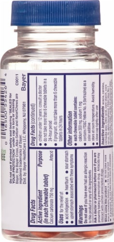 Alka-Seltzer Extra Strength Heartburn ReliefChews Assorted Fruit Chewable Tablets Perspective: back