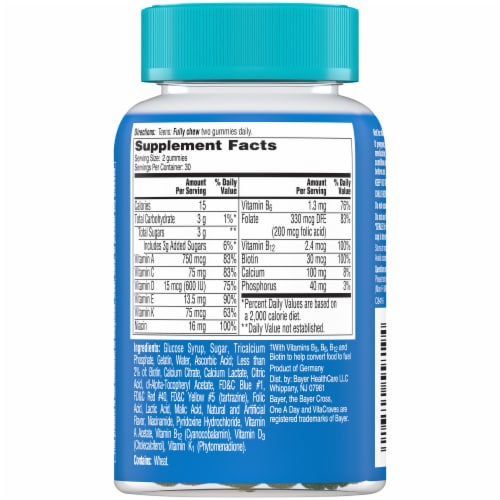 One A Day Teen Gummies for Him Vitacrave Multivitamin Gummies Perspective: back