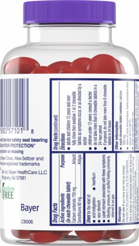 Alka-Seltzer® Tropical Punch Heartburn + Gas Reliefchews Chewable Tablets Perspective: back