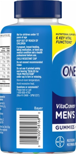 One A Day® Men's VitaCraves Multivitamin Gummies Perspective: back