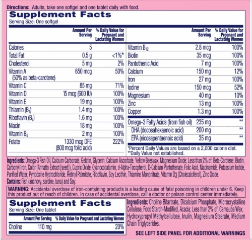 One A Day® Women's Prenatal Advanced Multivitamin with Choline Softgels & Tablets Perspective: back