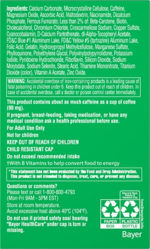 One A Day® Energy Multivitamin Tablets Perspective: back