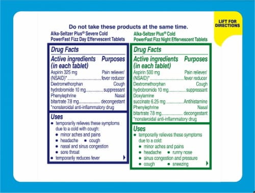 Alka-Seltzer Plus® Lemon & Citrus Cold Day and Night Tablets Perspective: back