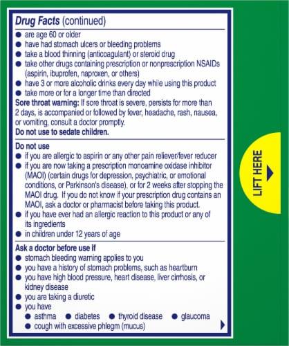 Alka-Seltzer Plus Lemon Severe Cold Night Relief Tablets Perspective: back