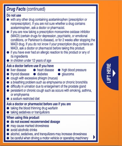 Alka-Seltzer Plus Citrus Severe Cold and Flu Relief Effervescent Tablets Perspective: back