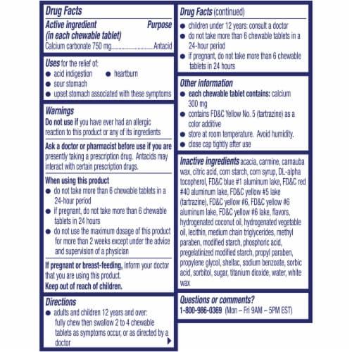 Alka-Seltzer Extra Strength Heartburn Relief Assorted Fruit Chews Perspective: back