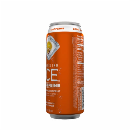 Sparkling Ice +Caffeine Orange Passionfruit Sparkling Water Perspective: back