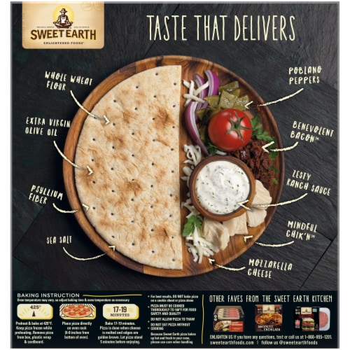 Sweet Earth Chik'n Bacon Ranch Vegetarian Pizza Perspective: back