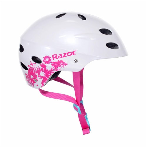 Razor 97893 V-17 Youth Safety Multi Sport Bicycle Helmet For Kids, White/Pink Perspective: back