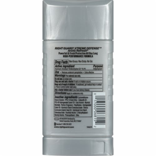 Right Guard Xtreme Defense Arctic Refresh Deodorant Perspective: back