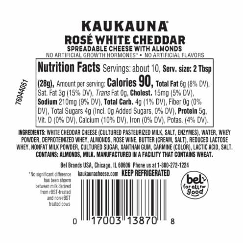 Kaukauna® Rose White Cheddar Spreadable Cheese with Almonds Cheeseball Perspective: back