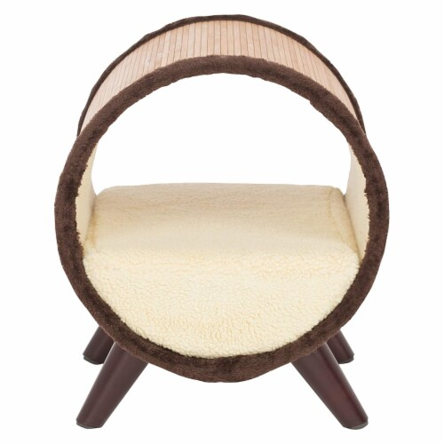 Paws & Purrs Tubular Bamboo Small Pet Bed w/ Removable Plush Fabric, Beige Perspective: back
