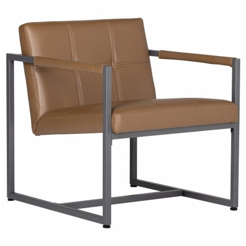 Studio Designs Home Camber Small Metal and Leather Accent Chair in Caramel Perspective: back