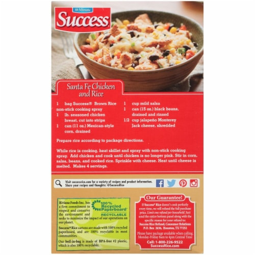 Success Boil in Bag Whole Grain Brown Rice Perspective: back