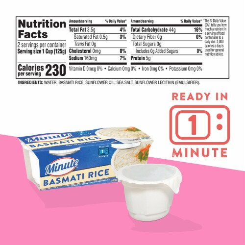 Minute Ready to Serve Basmati Rice Cups 2 Count Perspective: back