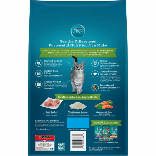 Purina One Indoor Advantage Hairball and Weight Control Natural Dry Cat Food Perspective: back