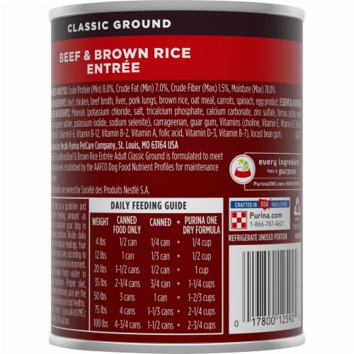 Purina ONE SmartBlend Beef & Brown Rice Entree Adult Wet Dog Food Perspective: back
