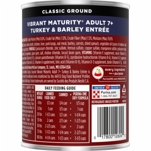 Purina ONE SmartBlend Vibrant Maturity 7+ Turkey & Barley Entree Classic Ground Wet Dog Food Perspective: back