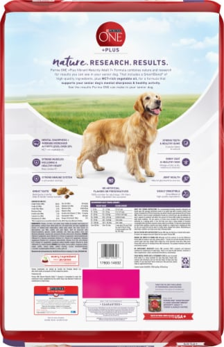 Purina ONE SmartBlend Vibrant Maturity Adult 7+ Formula Senior Dry Dog Food Perspective: back