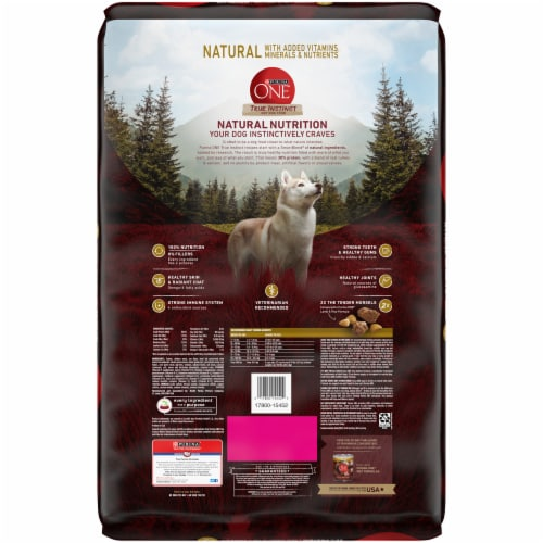 Purina ONE SmartBlend True Instinct with Real Turkey & Venison High Protein Natural Dry Dog Food Perspective: back