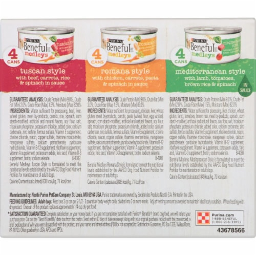 Beneful Medleys Tuscan Romana and Mediterranean Style Wet Dog Food Variety Pack Perspective: back