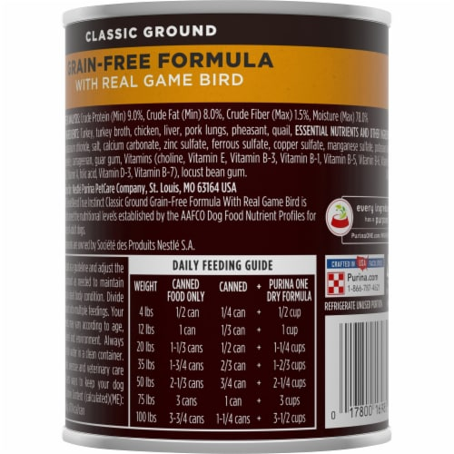 Purina ONE SmartBlend True Instinct Grain-Free Formula Real Gamebird Classic Ground Wet Dog Food Perspective: back