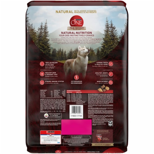 Purina ONE True Instinct Grain Free with Real Beef Natural Adult Dry Dog Food Perspective: back