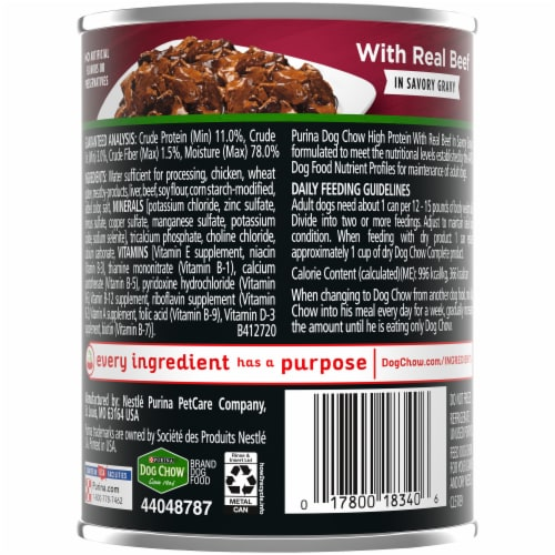 Dog Chow High Protein with Real Beef in Savory Gravy Wet Dog Food Perspective: back