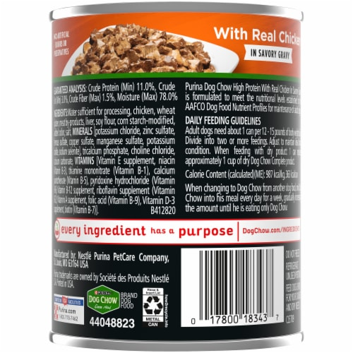 Dog Chow High Protein with Real Chicken in Savory Gravy Wet Dog Food Perspective: back