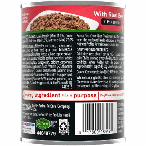 Dog Chow High Protein with Real Classic Ground Beef Wet Dog Food Perspective: back