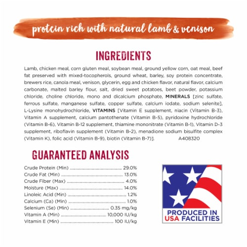 Purina Beneful Natural Lamb & Venison Protein Rich Dry Dog Food Perspective: back