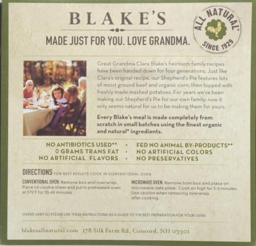 Blake's Shepherd's Pie Family Size Perspective: back