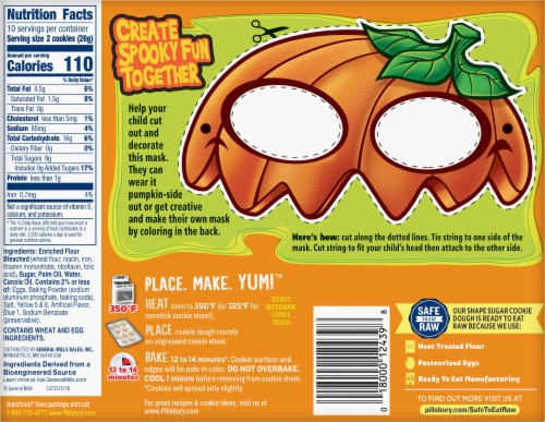 Pilsbury Ready to Bake! Pumpkin Shape Sugar Cookie Dough Perspective: back