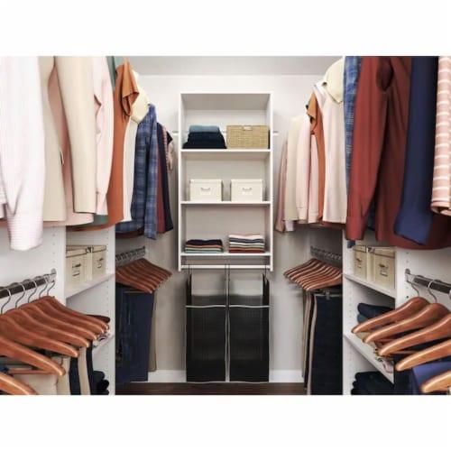 Easy Track Closet Storage Shelf Organizer System with Hanging Hamper Kit, White Perspective: back