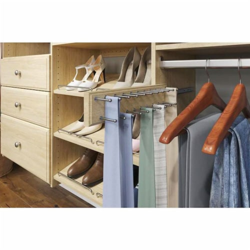 Easy Track 14 Inch 20 Hook Sliding Tie Hanger Closet Storage Rack, Honey Blonde Perspective: back