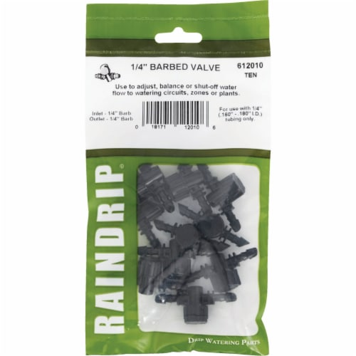Raindrip 612010B 10 Pack Barbed Valve - 0.25 in. Perspective: back