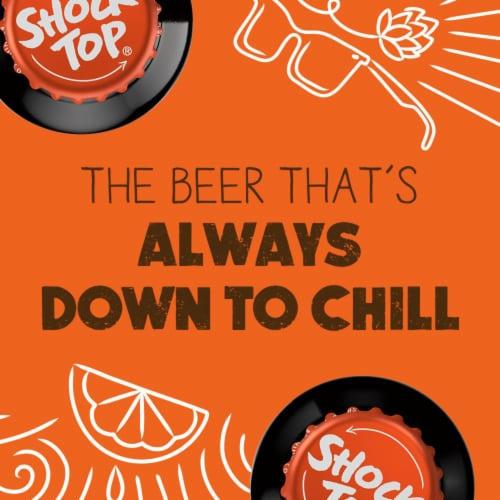 Shock Top Belgian White Ale Beer Perspective: back