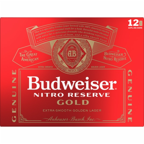 Budweiser® Nitro Reserve Gold Lager Beer Perspective: back