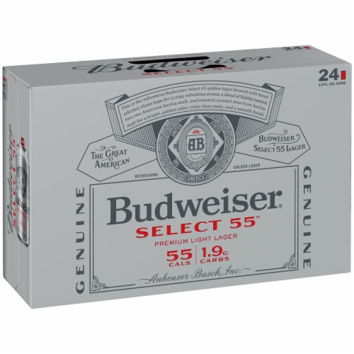 Budweiser Select 55 Premium Light Lager Beer Perspective: back