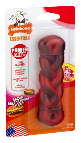 Nylabone Essentials Bacon & Beef Sliders Flavor Long Lasting Small Power Chew Braid Perspective: back