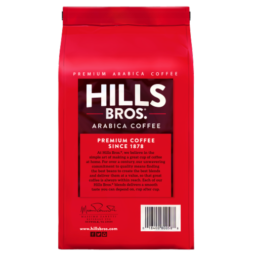 Hills Bros. 100% Colombian Medium Roast Whole Bean Coffee Perspective: back