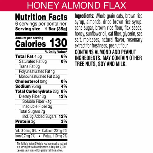 Kashi Chewy Granola Bars Non-GMO Project Verified Honey Almond Flax 6 Count Perspective: back